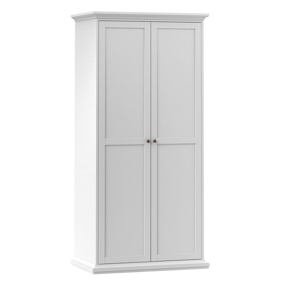 Parisian Chic Wardrobe with 2 Doors in White